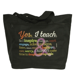 Teacher Peach Jumbo Rainbow Black Tote