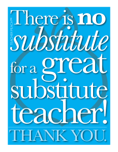 Substitute Teacher Freebie Blue