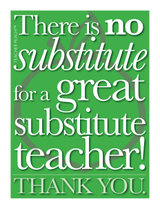 Substitute Teacher Freebie Green