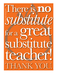 Substitute Teacher Freebie Orange