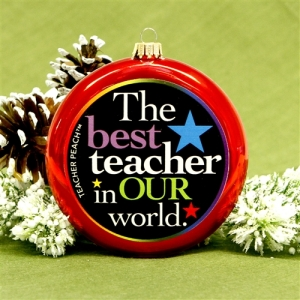 Teacher Peach Holiday Ornaments