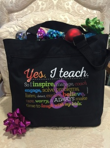 Teacher Peach Rainbow Tote