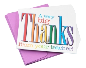 Teacher Peach Thank You Note Cards