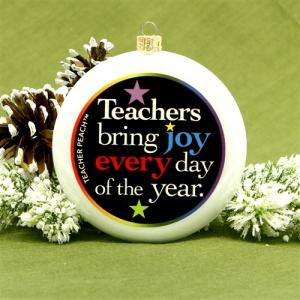 Teacher Peach Holiday Ornament
