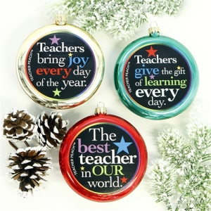 Teacher Peach 3 Ornament Set Color