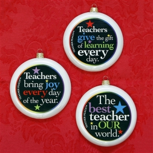 Teacher Peach 3 Ornament Set Pearl