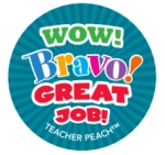 Teacher Peach Sticker Treats Wow Bravo