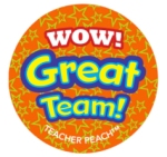 Teacher Peach Sticker Treats Wow Great Team