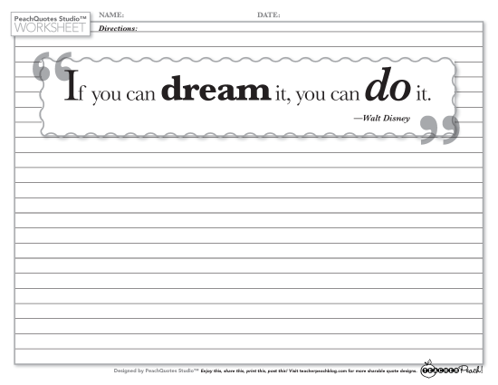 TP PQS Worksheet Disney Dream It Do It