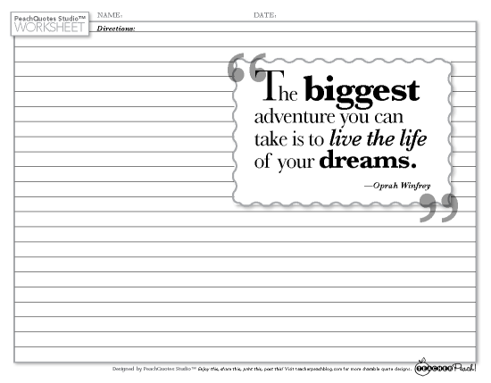 TP PQS Worksheet Winfrey Adventure Dreams