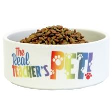 Teacher Peach Dog Bowl